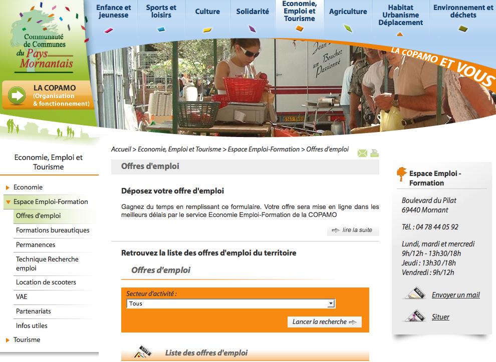 Page emploi de la Copamo : consultez les offres d'emploi