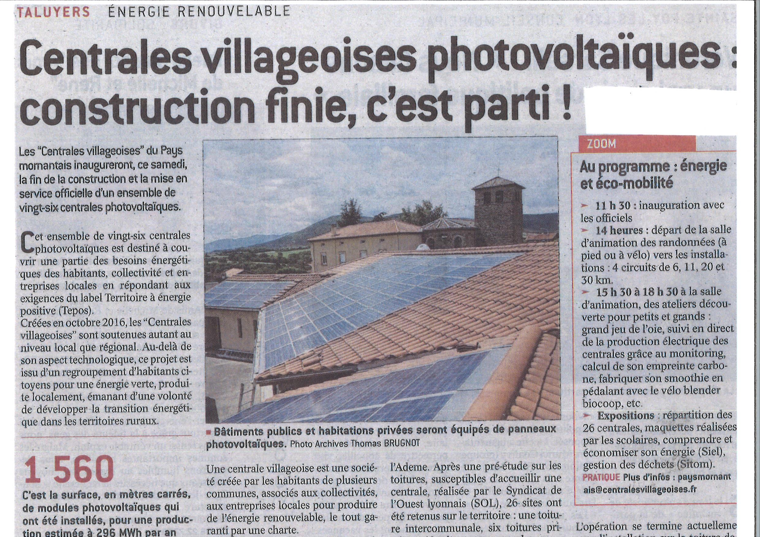 2018-05-30 CENTRALES VILLAGEOISES PHOTOVOLTAIQUES - CONSTRUCTION FINIE C EST PARTI